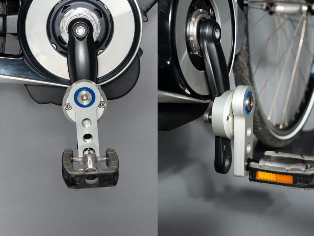 fietsen op maat - rom-pedaal voor en zij aanzicht