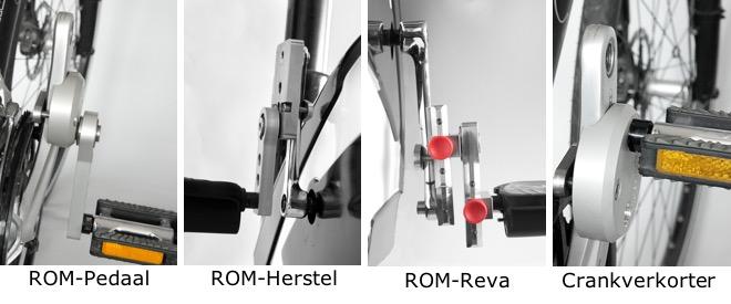 ROM Pedalen, excentrische pedaalarm, crank verkorter, fietsen